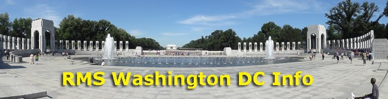 World War II Memorial Fountain in Washington DC with text RMS Washington DC Info