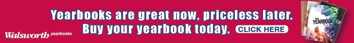 Pink box with following text: Yearbooks are great now, priceless later. Buy your yearbook today. Click here.