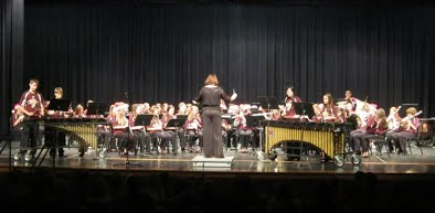 Ross Middle School band students playing instruments